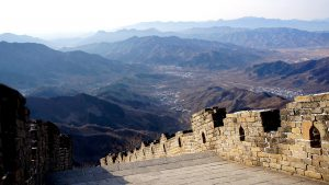 great wall china top mountains