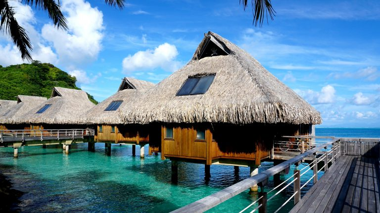 conrad bora bora overwater villas boardwalk approach