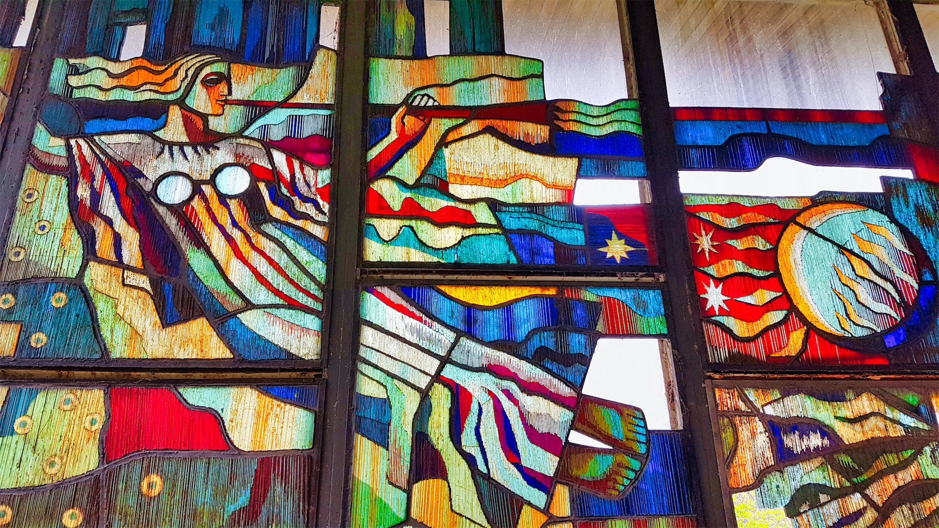 chernobyl pripyat interior stained glass reclining image