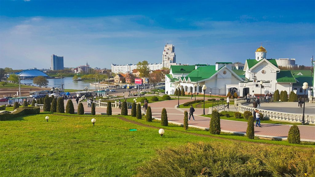 minsk holy spirit cathedral and river image
