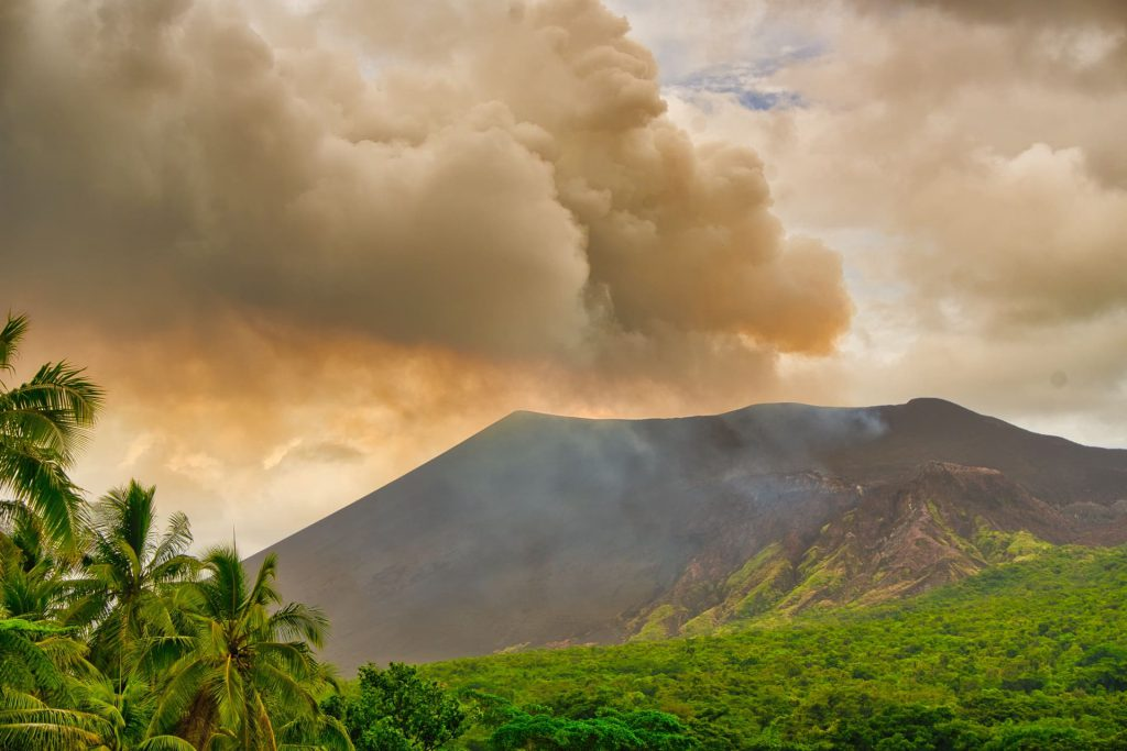 mount yasur active volcano view from volcano island paradise close up