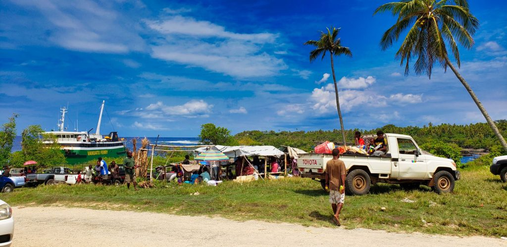 tanna island market at ferry port