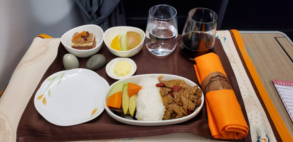 EVA Airways Premium Laurel Class A330 TPE MNL Dining Wok Fried Beef