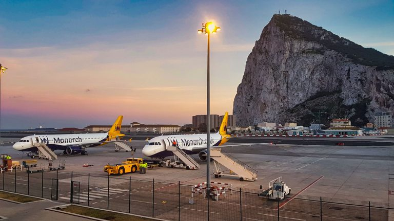Priority Pass Calpe Lounge Gibraltar view of Monarch planes