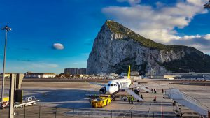Priority Pass Calpe Lounge Gibraltar view of Rock and Monarch