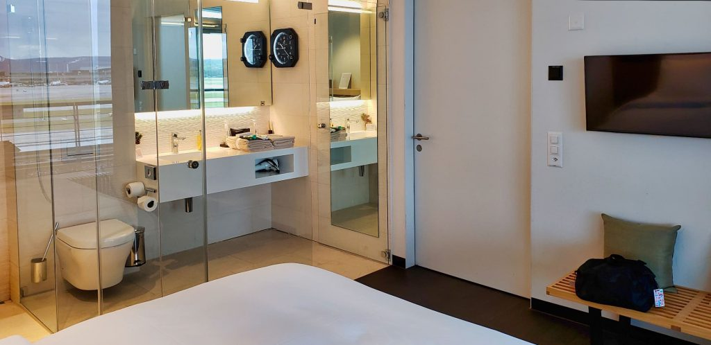 Swiss First Class Terminal Zurich day room bed and bathroom