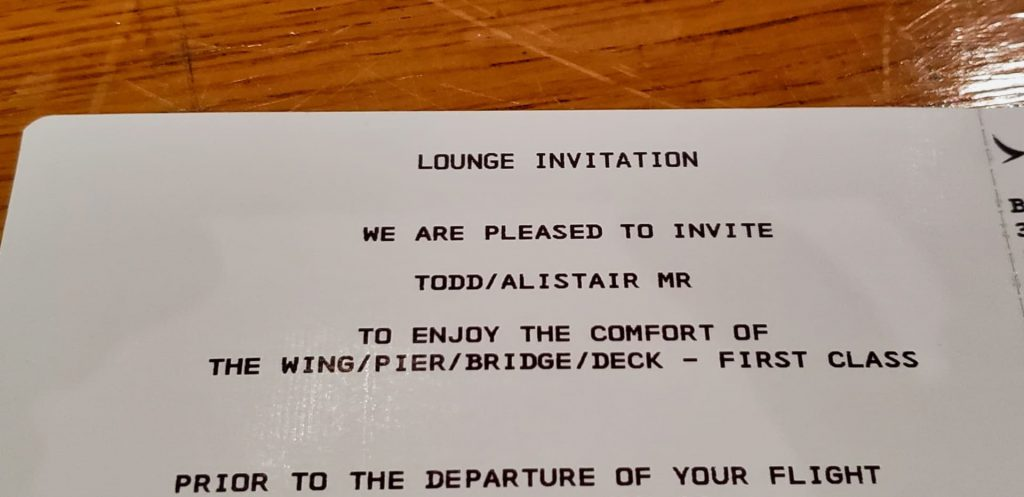 Cathay Pacific First class Lounge Invitation