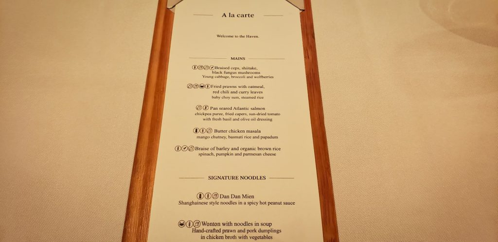 Cathay Pacific The Wing First Class Hong Kong A La Carte Menu