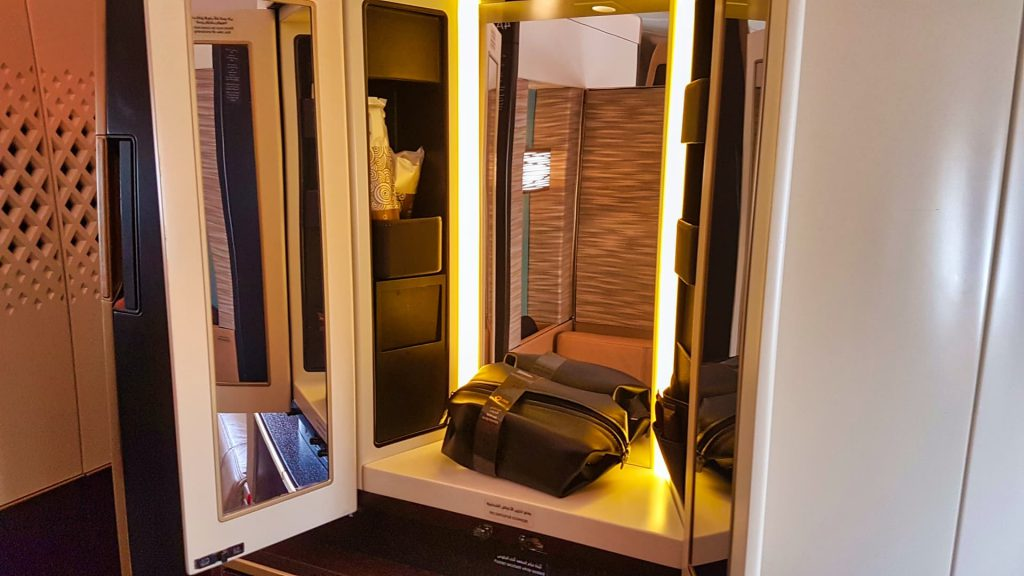 Etihad Apartment First Class Vanity Cupboard and Amenity Kit