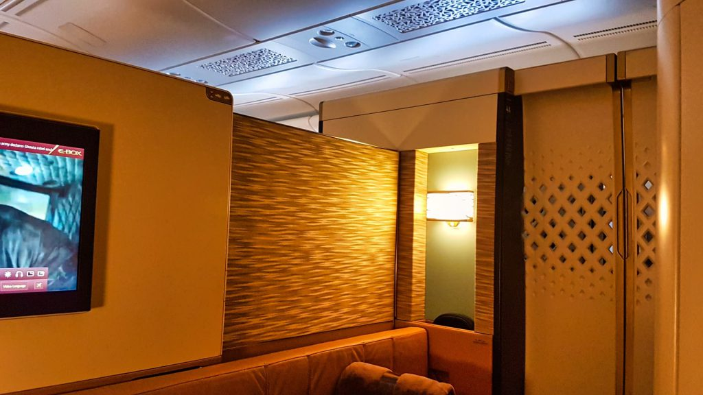 Etihad First Class Apartment Privacy with door closed