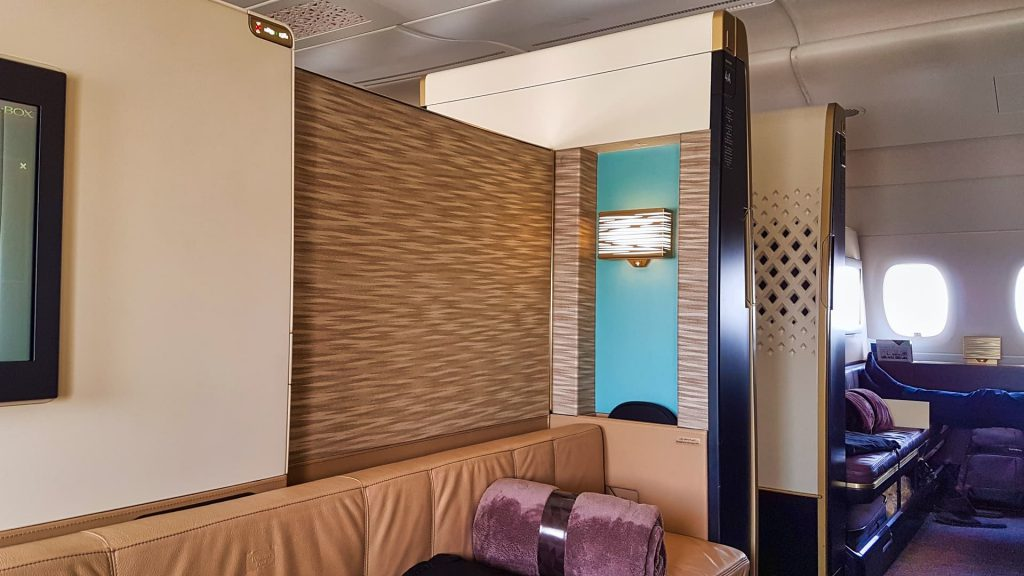 Etihad First Class Apartment Privacy with door open