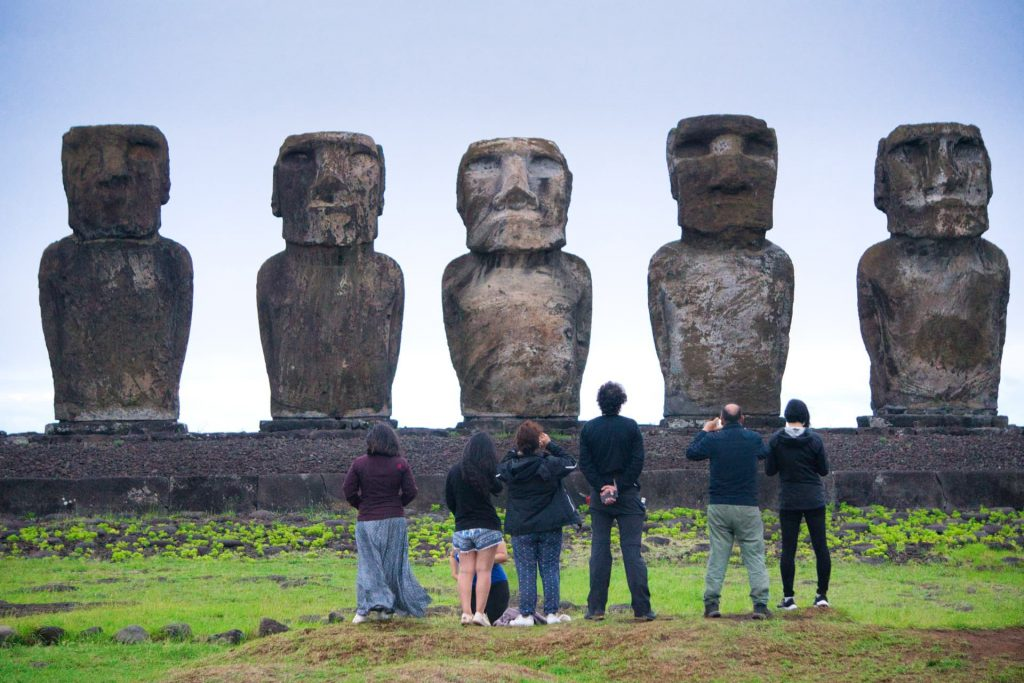 How do you get to Easter Island people visiting Moai