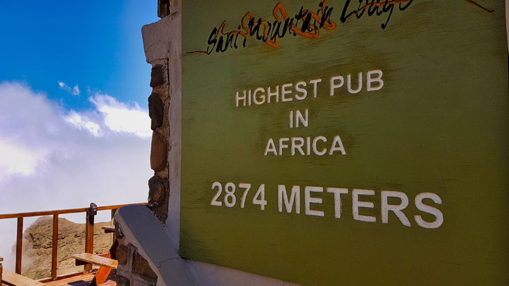 Highest pub in Africa 2874m