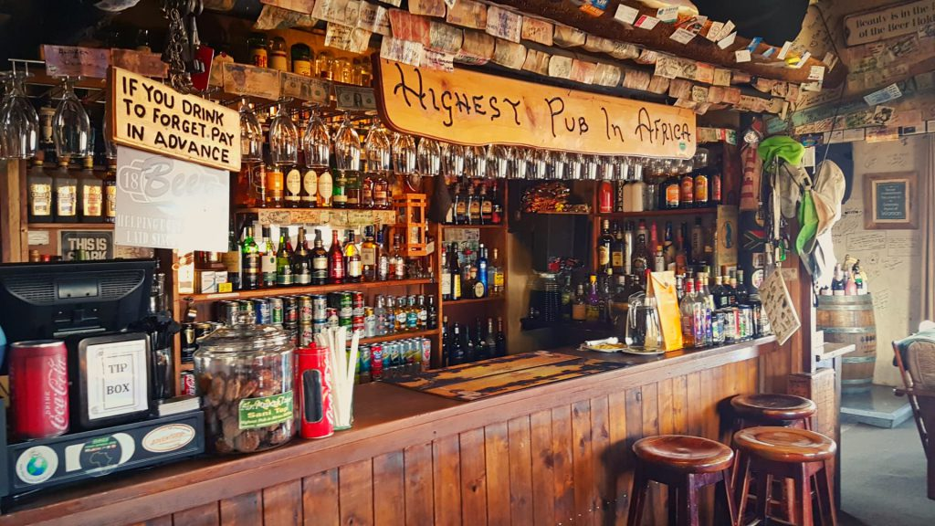 Highest pub in Africa Bar Drink to forget