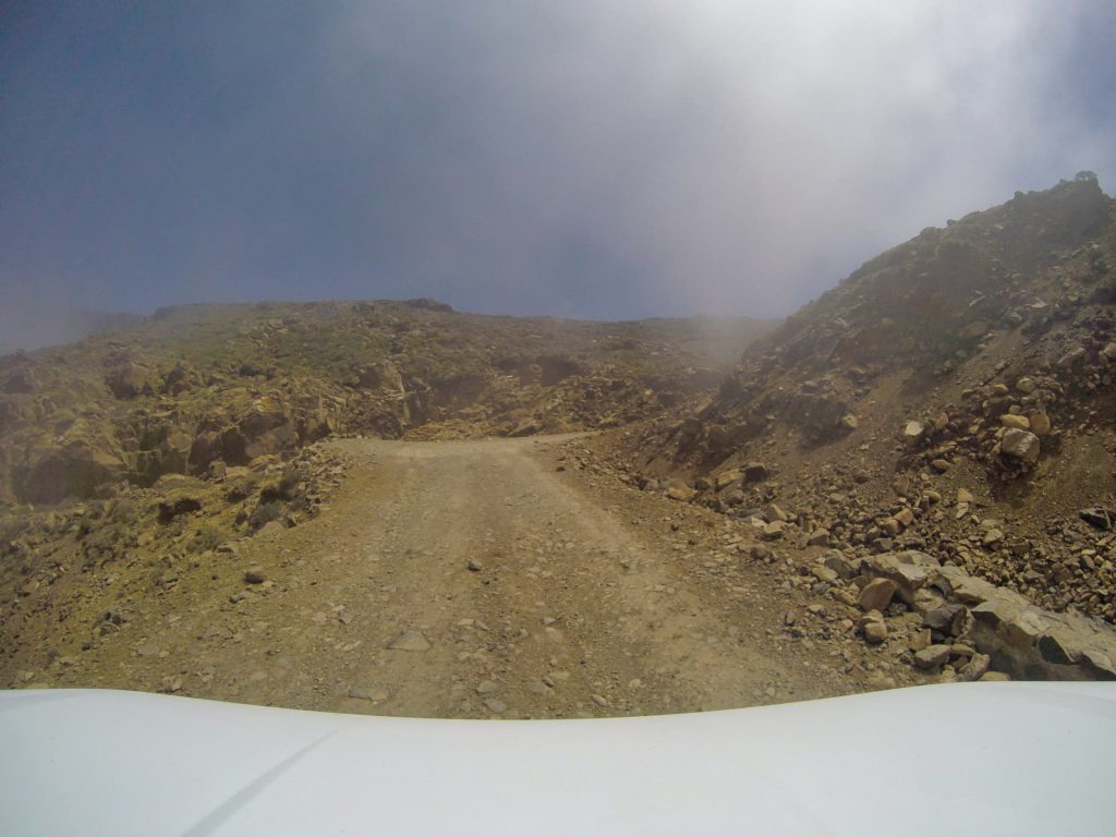 Sani Pass Drivers view Above the clouds