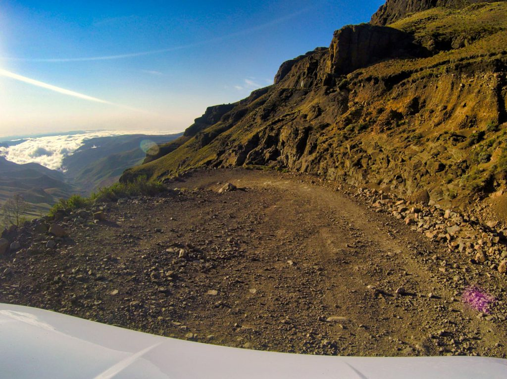 Sani Pass Drivers view Downhill disappearing road