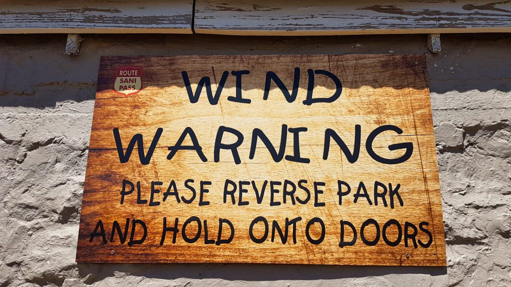 Sani Pass Sani Mountain Lodge Wind warning