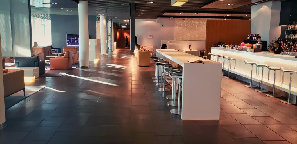 Lufthansa First Class Terminal Seating and Bar