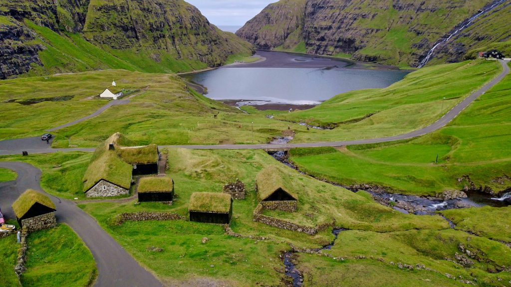 Faroe Islands Saksun Drone Fly
