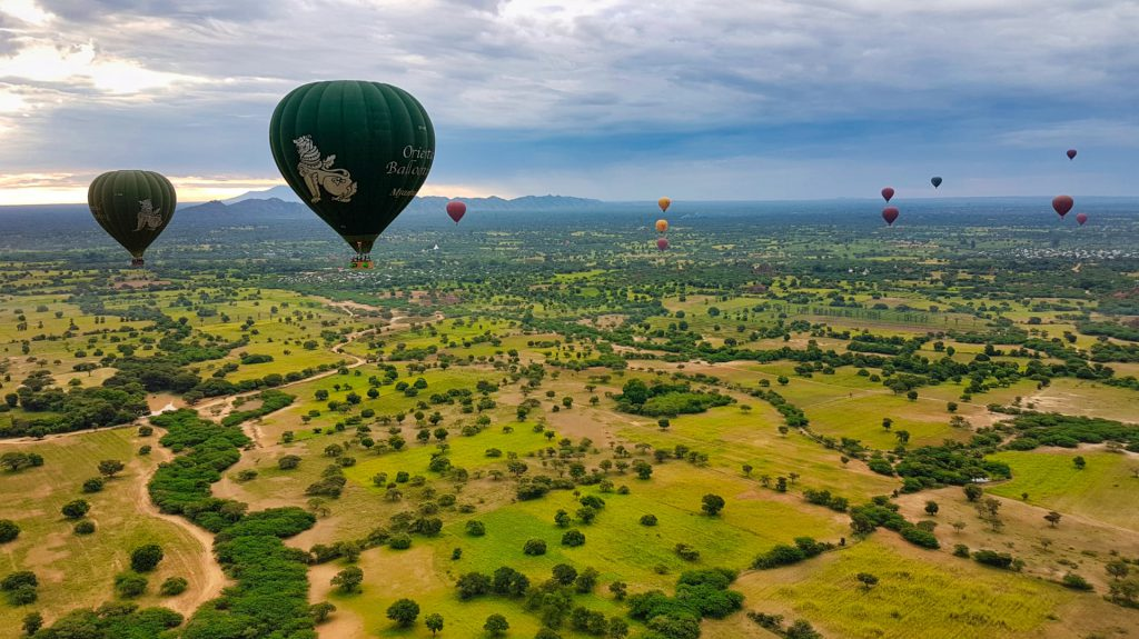 Bagan Balloon Flight Balloons over the plain of temples