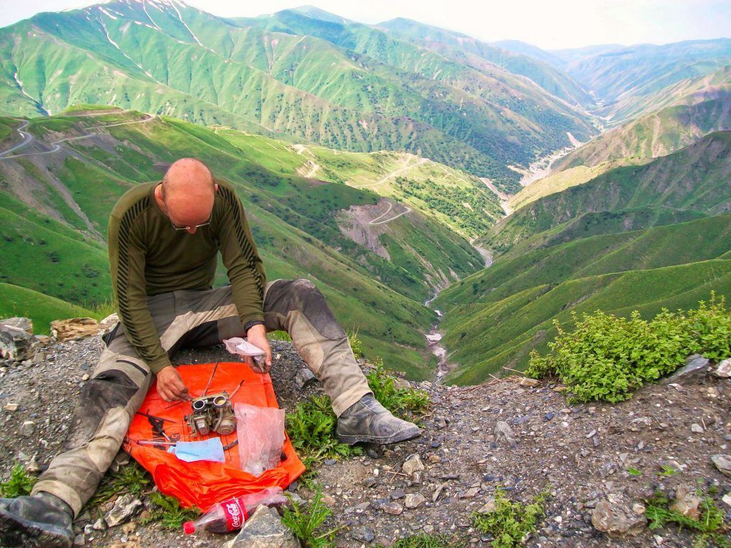 Bike Kyrgyzstan Mountain top carb repairs
