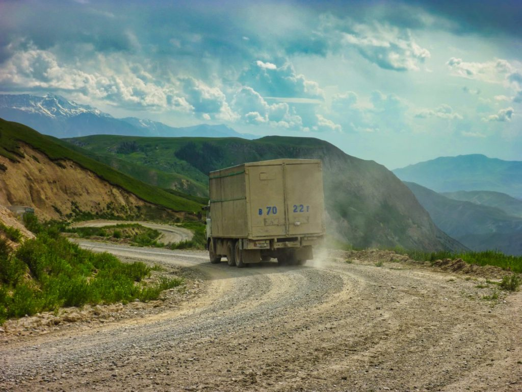 Kyrgyzstan biking Mountain pass traffic