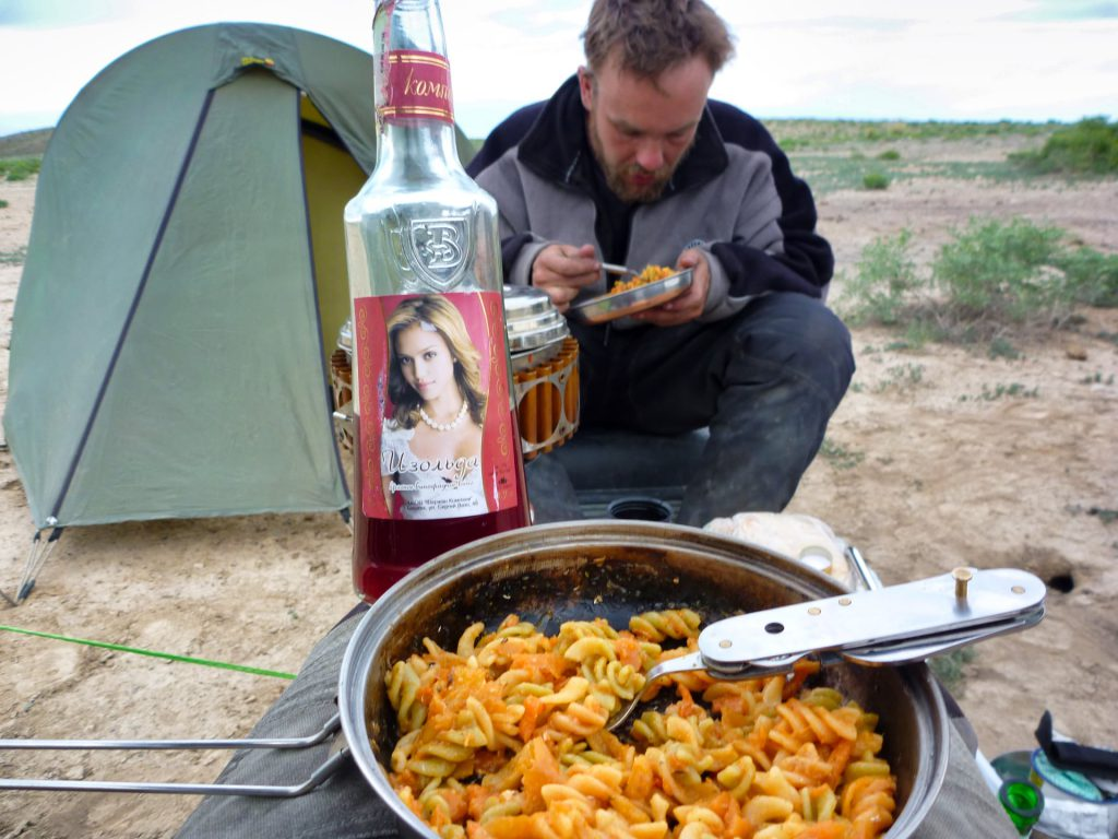 Bike Kyrgyzstan Wild camping past slop and Jessica Alba wine
